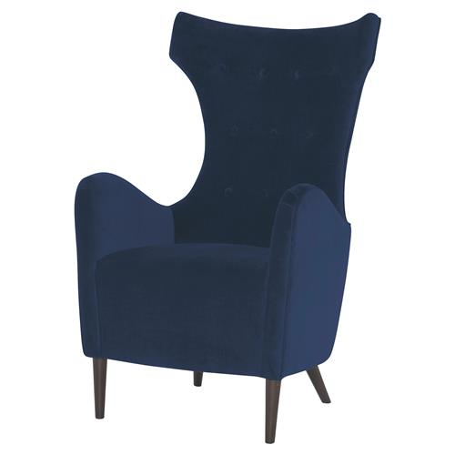 Mr. Brown Malmo Classic Mid Century Harbor Blue Velvet Wing Chair | Kathy Kuo Home