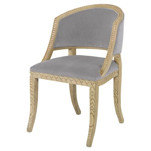 Mr. Brown Pearl Chair Regency Ash Wave Chair - Cannon Grey Velvet | Kathy Kuo Home