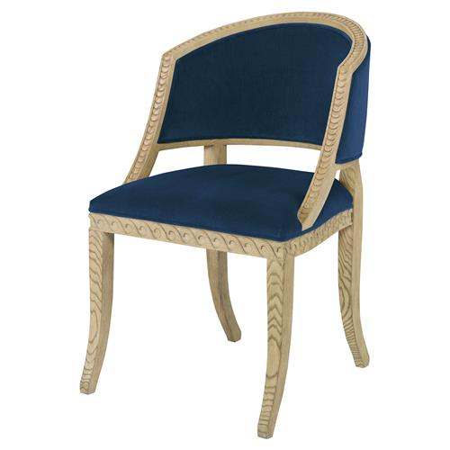 Mr. Brown Pearl Chair Regency Ash Wave Chair - Harbor Blue Velvet | Kathy Kuo Home