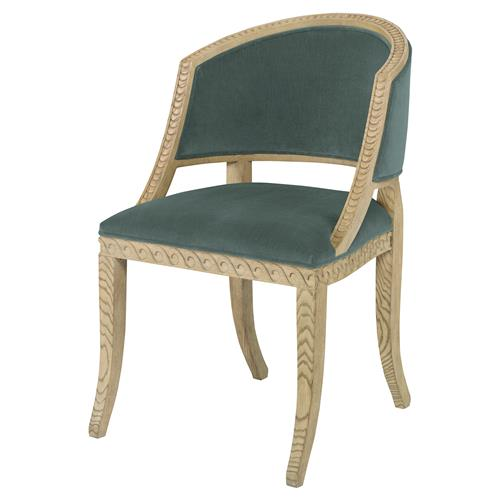 Mr. Brown Pearl Chair Regency Ash Wave Chair - Silver Sage Velvet | Kathy Kuo Home
