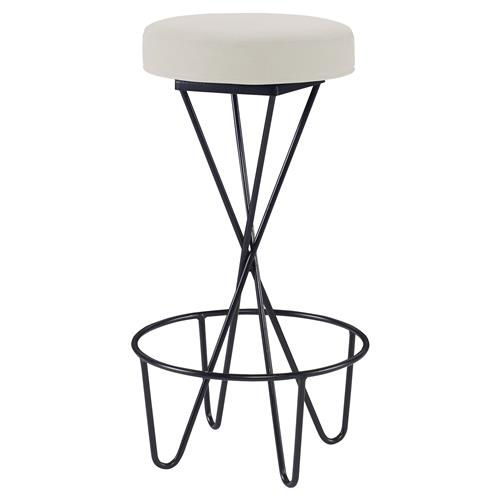 Mr. Brown Santander Modern Black Hairpin Barstool - Snow White Velvet | Kathy Kuo Home