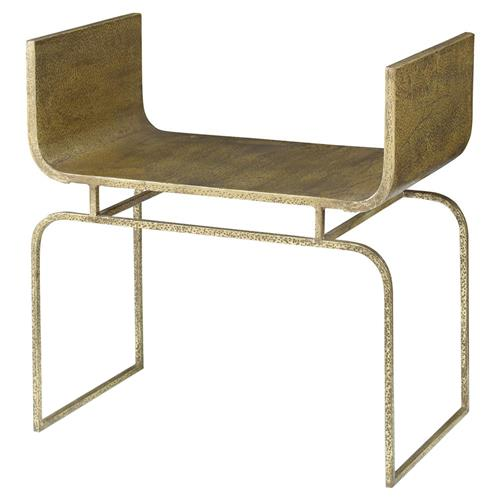 Mr. Brown Trieste Modern Hammered Gold Scoop Metal Bench - Small | Kathy Kuo Home