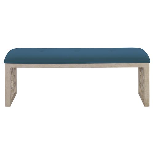 Mr. Brown Wolfgang Modern White Trellis Teal Velvet Bench | Kathy Kuo Home