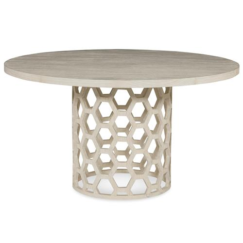 Mr. Brown Angeline Modern White Wash Honey Comb Dining Table - 48D | Kathy Kuo Home