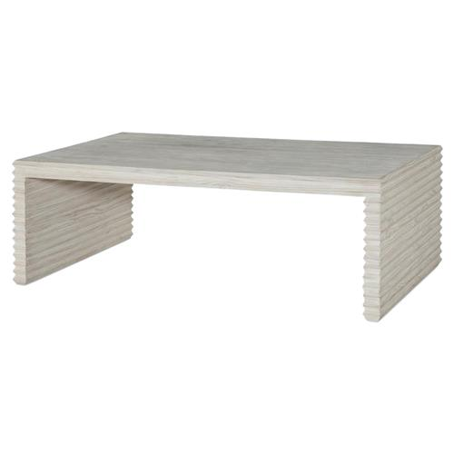 Mr. Brown Belmont Coastal Beach Corrugated White Wash Pine Rectangular Coffee Table | Kathy Kuo Home
