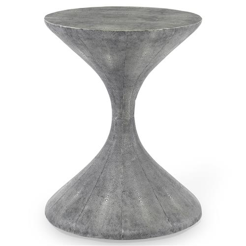 Mr. Brown Lido Modern Grey Faux Shagreen Hourglass End Table | Kathy Kuo Home