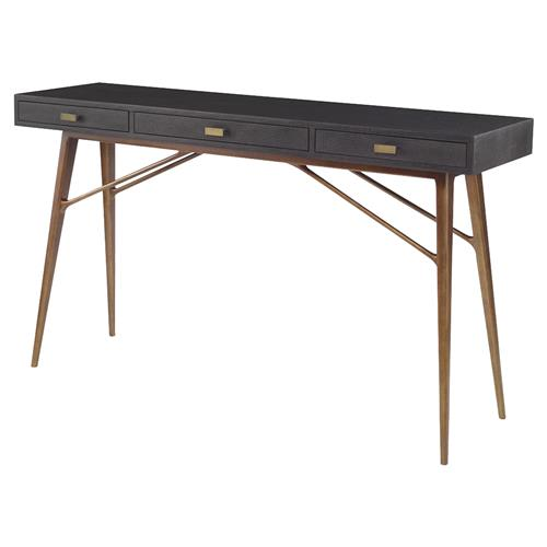 Mr. Brown Luciano Mid Century Faux Black Croc Gold Pin Console Desk | Kathy Kuo Home
