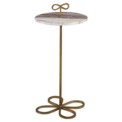 Mr. Brown Classico Modern Classic Flora Bow Gold Granite End Table | Kathy Kuo Home