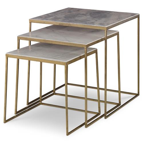 Mr Brown Sanchez Modern Gold Marble Nesting Table Set Of 3