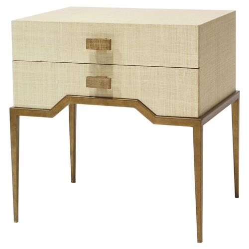 Palecek Avery Coastal Beach Antique Gold Natural Raffia End Table | Kathy Kuo Home