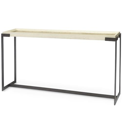 Palecek Tribecca Modern Classic Ivory Faux Shagreen Top Metal Console Table | Kathy Kuo Home