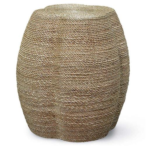 Palecek Wrapped Rope Coastal Beach Natural Rope Quatrefoil Stool Side End Table | Kathy Kuo Home