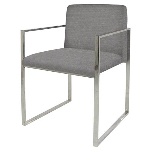 Palecek Atlantic Modern Classic Stainless Steel Grey Armchair | Kathy Kuo Home