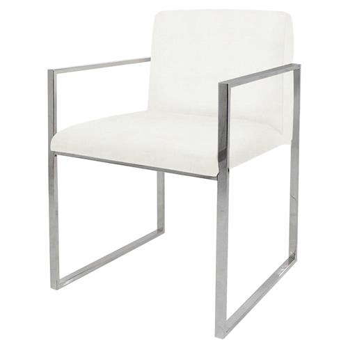 Palecek Atlantic Modern Classic Stainless Steel Ivory Armchair | Kathy Kuo Home