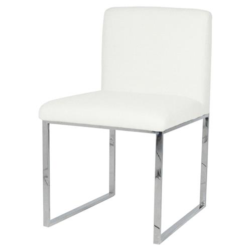 Palecek Atlantic Modern Classic Stainless Steel Ivory Side Chair | Kathy Kuo Home