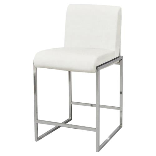 Palecek Atlantic Modern Classic Stainless Steel Ivory Counter Stool | Kathy Kuo Home