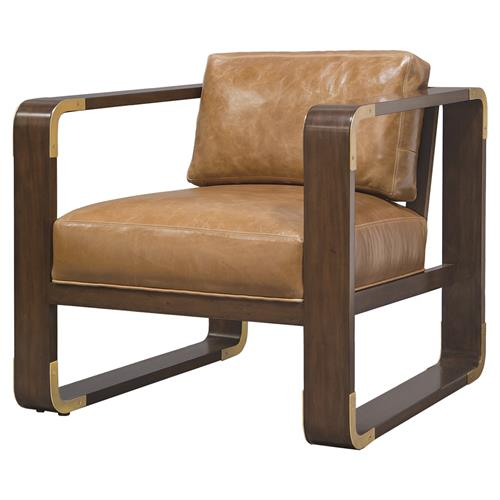 Palecek Brando Modern Classic Leather Smooth Wood Lounge Chair | Kathy Kuo Home
