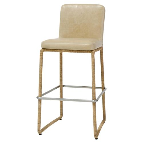 Palecek Stillwater Coastal Modern Rope Wrap Tan Leather Counter Stool | Kathy Kuo Home