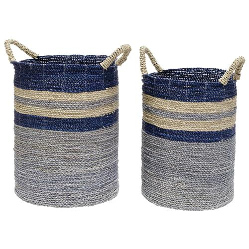 Palecek Bayshore Coastal Beach Seagrass Striped Blue Ocean Baskets - Set of 2 | Kathy Kuo Home