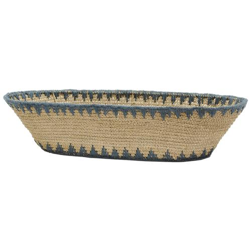 Palecek Mojave Global Coastal Woven Slate Blue Trim Bowl | Kathy Kuo Home