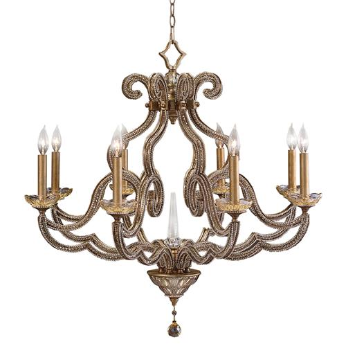 John-Richard Rani Global Textured Gold Leaf Candelabra Chandelier - 34D | Kathy Kuo Home