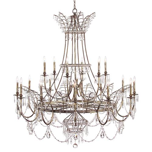 Honore French Country Aged Silver Crystal Beaded Drop Chandelier | Kathy Kuo Home