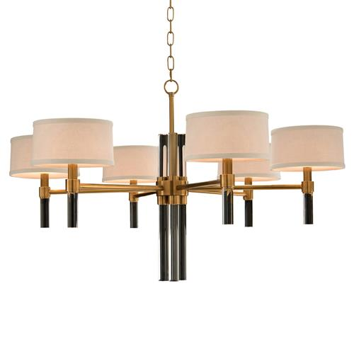 John-Richard Ritter Hollywood Regency Glass Rod Brass Chandelier | Kathy Kuo Home