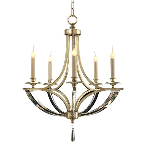 John-Richard Dorry Modern Silver Leaf Crystal Arm Chandelier - 5 Light | Kathy Kuo Home