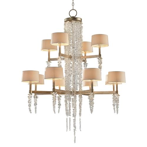 John-Richard Poole Modern Silver Leaf Crystal 2 Tier Waterfall Chandelier | Kathy Kuo Home
