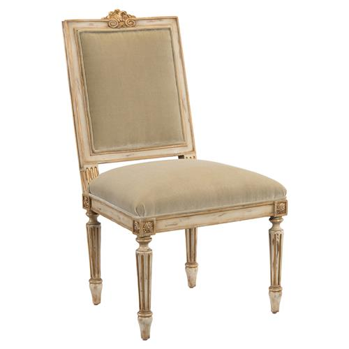John-Richard Hortense French Antique White Brushed Gold Frame Dining Chair | Kathy Kuo Home