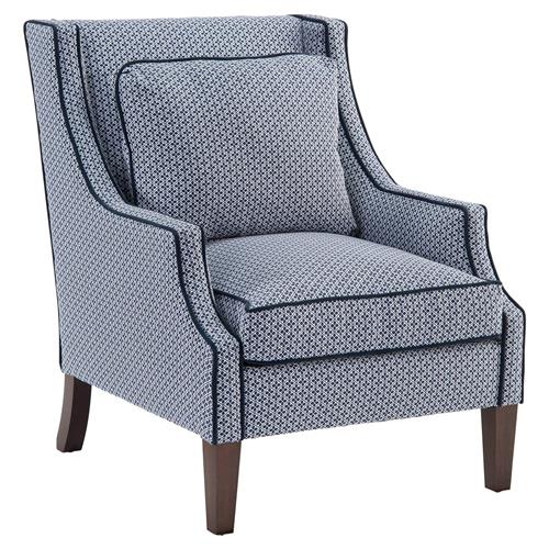 Norwalk Modern Tile Print Navy Piped Dark Brown Arm Chair | Kathy Kuo Home