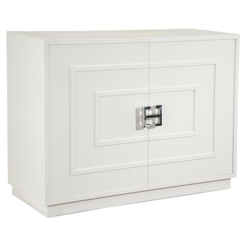 John-Richard Jeanette Regency White Geometric Silver Accent Cabinet | Kathy Kuo Home