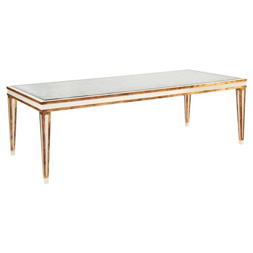 French Gold Leaf Rectangular White Dining Table Kathy Kuo Home