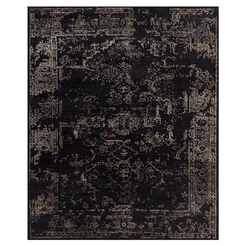 Tash Global Charcoal Antique Traditional Wool Silk Rug - 5'6x8'6 | Kathy Kuo Home