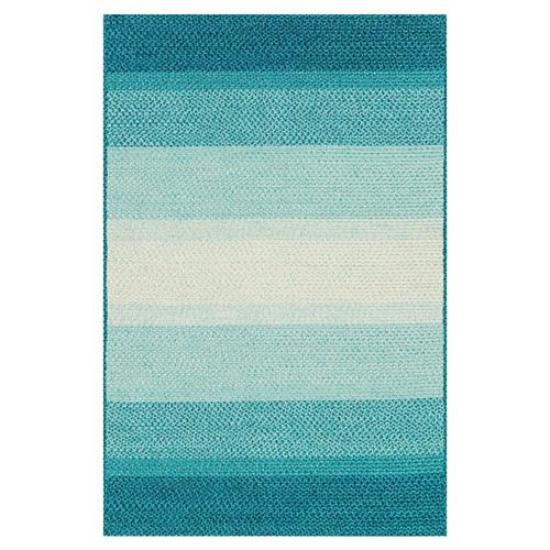 Zadie Coastal Beach Stripe Blue Aqua Outdoor Rug - Sample | Kathy Kuo Home