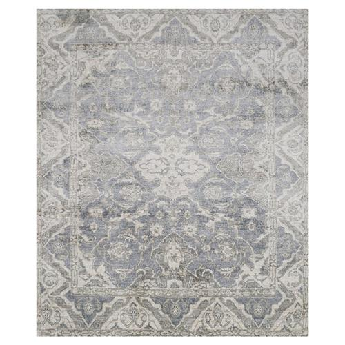 Fae French Antique Wash Slate Grey Bamboo Silk Rug - 4' x 6' | Kathy Kuo Home