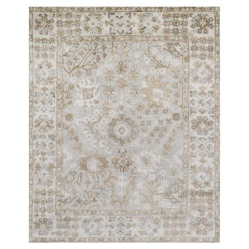 Farand French Antique Wash Silver Grey Ivory Silk Rug - 4' x 6' | Kathy Kuo Home