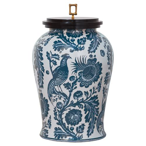 Adrial Global Blue Floral Bird Gold Bamboo Finial Porcelain Jar | Kathy Kuo Home
