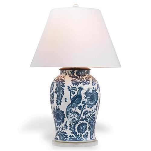 Adrial Global Indigo Blue Floral Bird Porcelain Table Lamp | Kathy Kuo Home