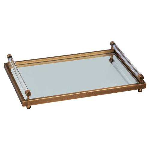 Renee Modern Crystal Bar Handle Brass Mirror Tray | Kathy Kuo Home