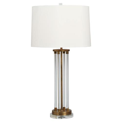 Renee Modern Lucite Column GoldBrass Table Lamp | Kathy Kuo Home
