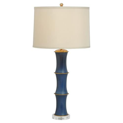 Ramin Regency Dark Blue Bamboo Porcelain Gold Table Lamp | Kathy Kuo Home