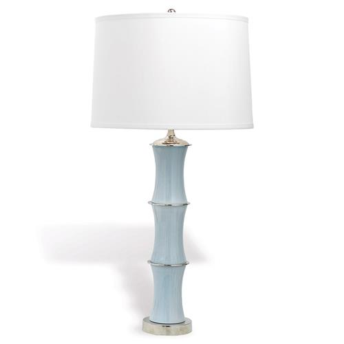 Ramin Regency Sky Blue Bamboo Porcelain Silver Table Lamp | Kathy Kuo Home