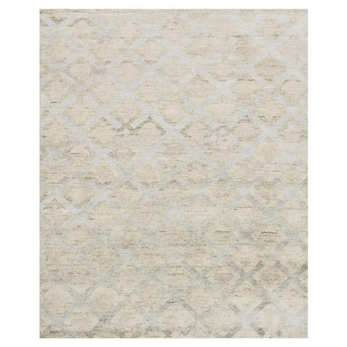 Zain Hollywood Silver Diamond Beige Linen Rug - 4' x 6' | Kathy Kuo Home