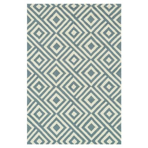 "Drew Modern Diamond Blue Slate Ivory Outdoor Rug - 3'6"" x 5'6"" 
