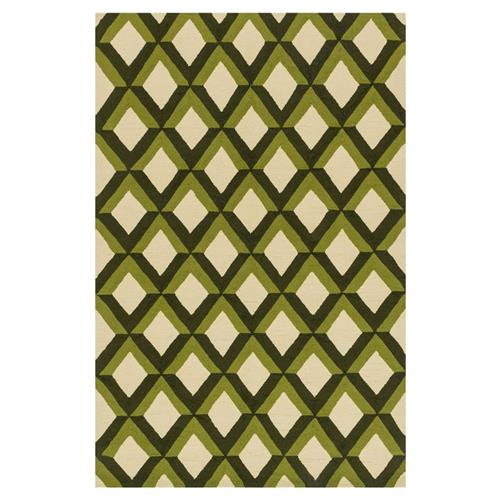 "Sheela Modern Forest Green Trellis Outdoor Rug - 3'6"" x 5'6"" 