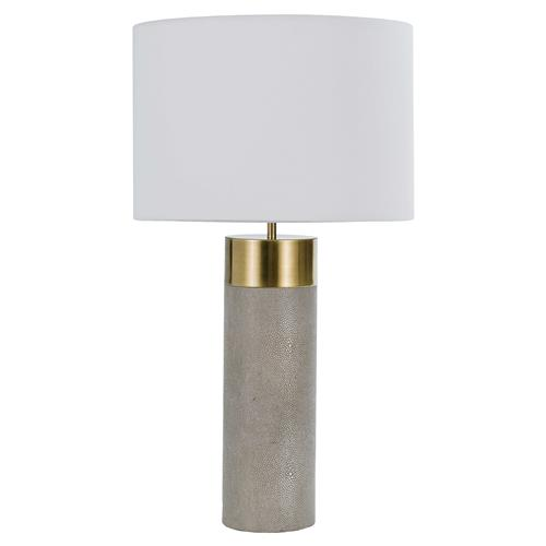 Bronson Hollywood Brass Cap Faux Shagreen Grey Table Lamp | Kathy Kuo Home