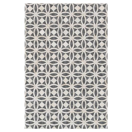 Wylie Rustic Charcoal Ivory Hide Medallion Rug- 5' x 7'6 | Kathy Kuo Home