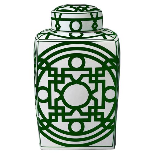 Bungalow 5 Jasper Global Bazaar Green Chinoiserie Fretwork Square Jar | Kathy Kuo Home