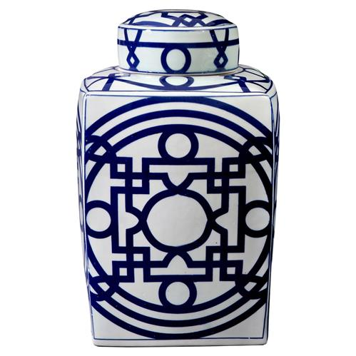 Hai Global Bazaar Blue Chinoiserie Fretwork Square Jar | Kathy Kuo Home